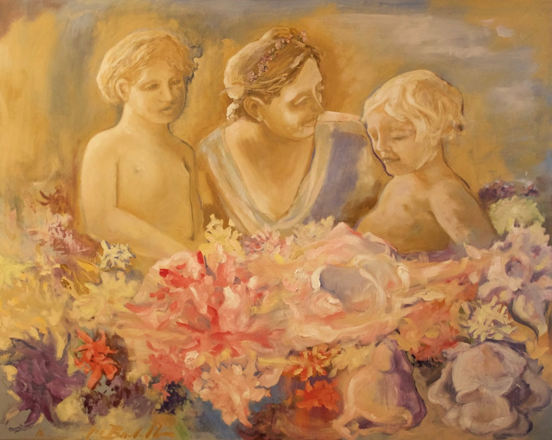 noe badillo art, colorful painting, springtime flowers children, impressionism, antique classicism, holy family