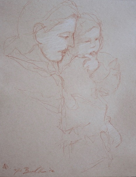 nineteenth-century drawings, old masters sketch, mother and child, mary cassat, sanguine on paper, drawing heightened with white