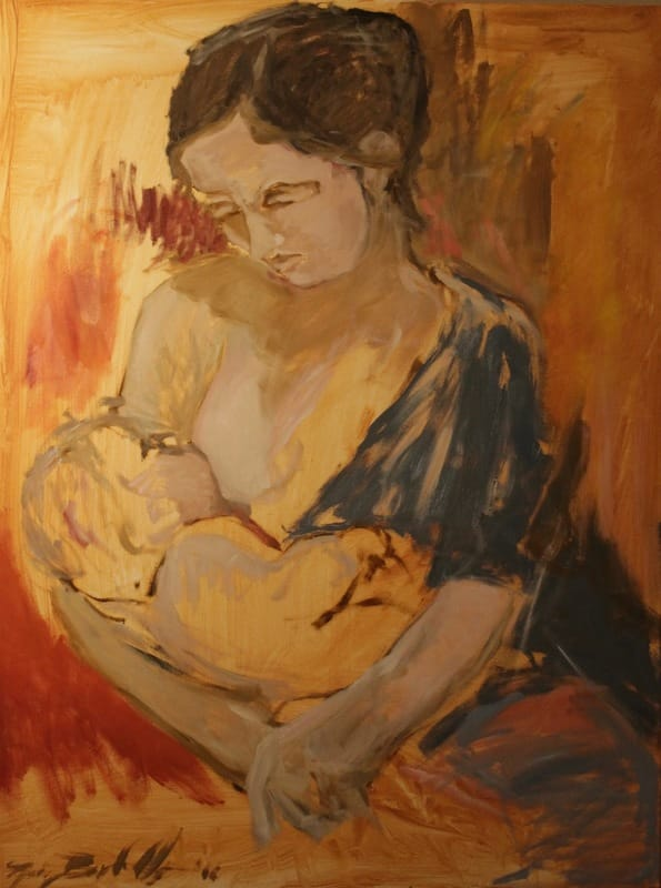 madonna and child paintings, impressionism and color, art and poverty, catholic paintings, virgin and child art, mothers and children, breastfeeding, painterly figurative art