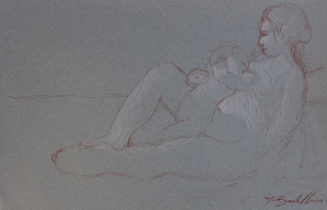 master draftsman, mother and child, renaissance drawings, classical drawings, master drawings, sketchbook pages, drawing from life, met museum, whitney, moma, phxart, sothebys, christies, bno, artnews, artforum, artnet