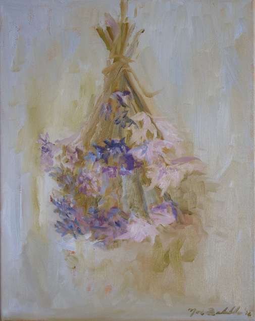 beautiful flower painting, hanging dried flower bouquets