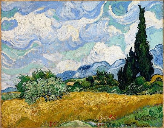 van gogh, wheat field under a cloudy sky, van gogh national gallery london, genius and madness