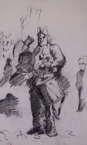 daumier, clown playing a drum, charcoal on paper, noe badillo, caricature sketch, nineteenth century art