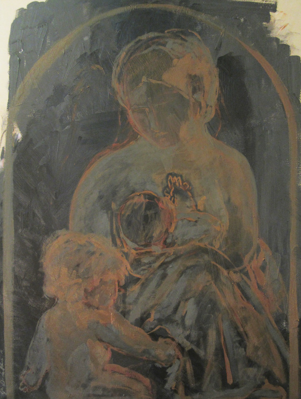 black madonna, chalkboard paintings, holy family in painting, tonalism, madonna christ and st john, infant christ, images of poverty