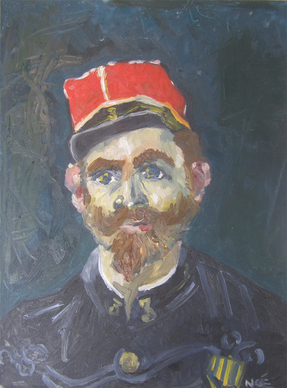 van gogh, portrait of milliet second lieutenant, zouaves, oil on canvas, van gogh reproduction